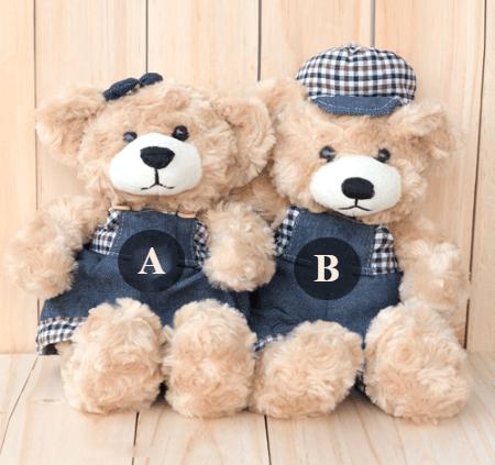 Alphabets on Teddy Bear for couple