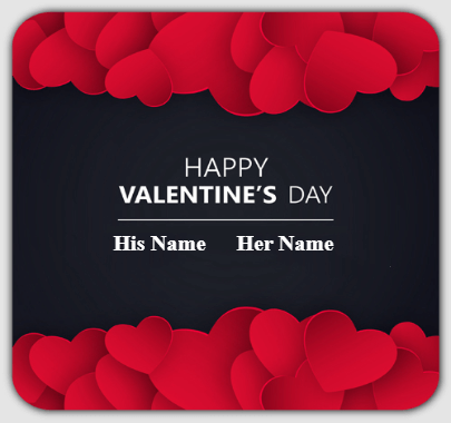 Valentine Day Names on Beautiful Background