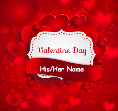 Happy Valentine Names on Beautiful card
