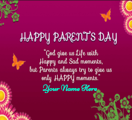 Happy Parents Day Wish With Beautiful Card