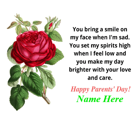 Happy Parent Day Red Rose Card